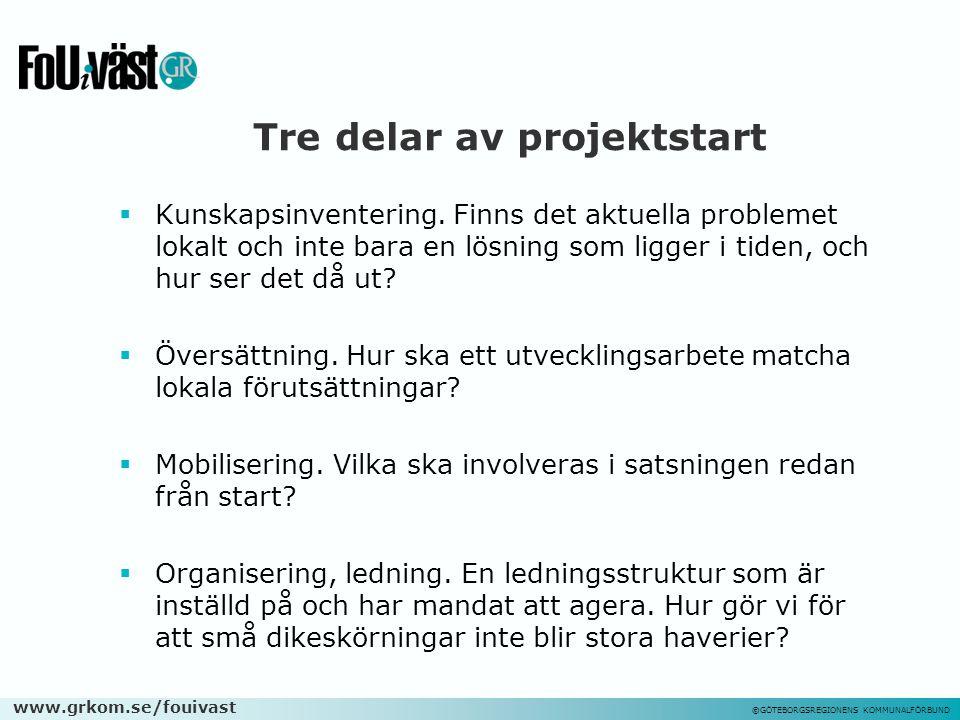 www.grkom.se/fouivast ©GÖTEBORGSREGIONENS KOMMUNALFÖRBUND Tre delar av projektstart  Kunskapsinventering. Finns det aktuella problemet lokalt och int