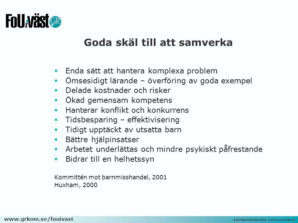 www.grkom.se/fouivast ©GÖTEBORGSREGIONENS KOMMUNALFÖRBUND Goda skäl till att samverka  Enda sätt att hantera komplexa problem  Ömsesidigt lärande –