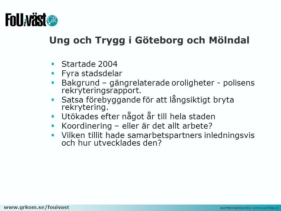 www.grkom.se/fouivast ©GÖTEBORGSREGIONENS KOMMUNALFÖRBUND Ung och Trygg i Göteborg och Mölndal  Startade 2004  Fyra stadsdelar  Bakgrund – gängrela