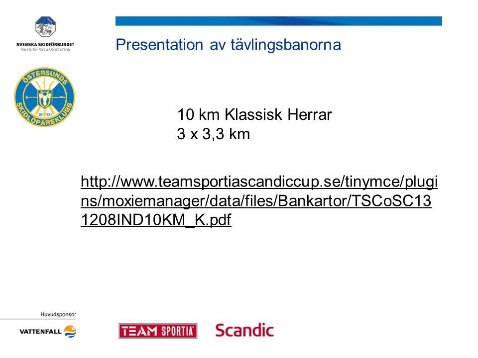 Presentation av tävlingsbanorna 10 km Klassisk Herrar 3 x 3,3 km http://www.teamsportiascandiccup.se/tinymce/plugi ns/moxiemanager/data/files/Bankartor/TSCoSC13 1208IND10KM_K.pdf