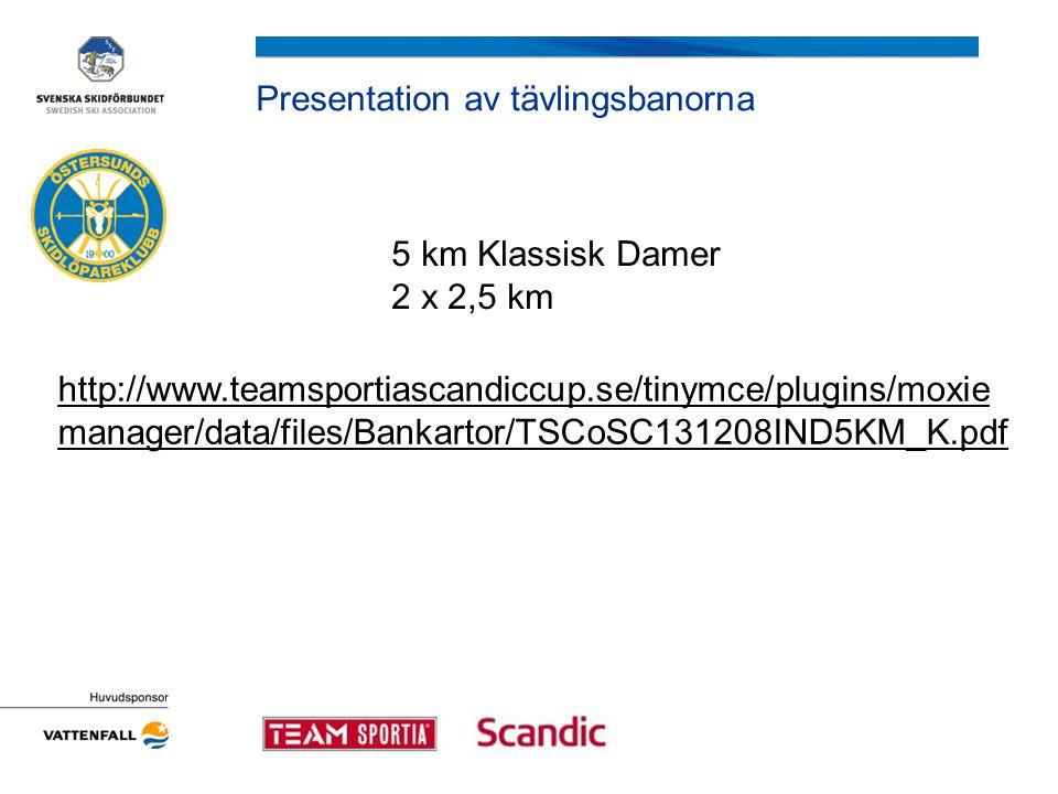 Presentation av tävlingsbanorna 5 km Klassisk Damer 2 x 2,5 km http://www.teamsportiascandiccup.se/tinymce/plugins/moxie manager/data/files/Bankartor/TSCoSC131208IND5KM_K.pdf