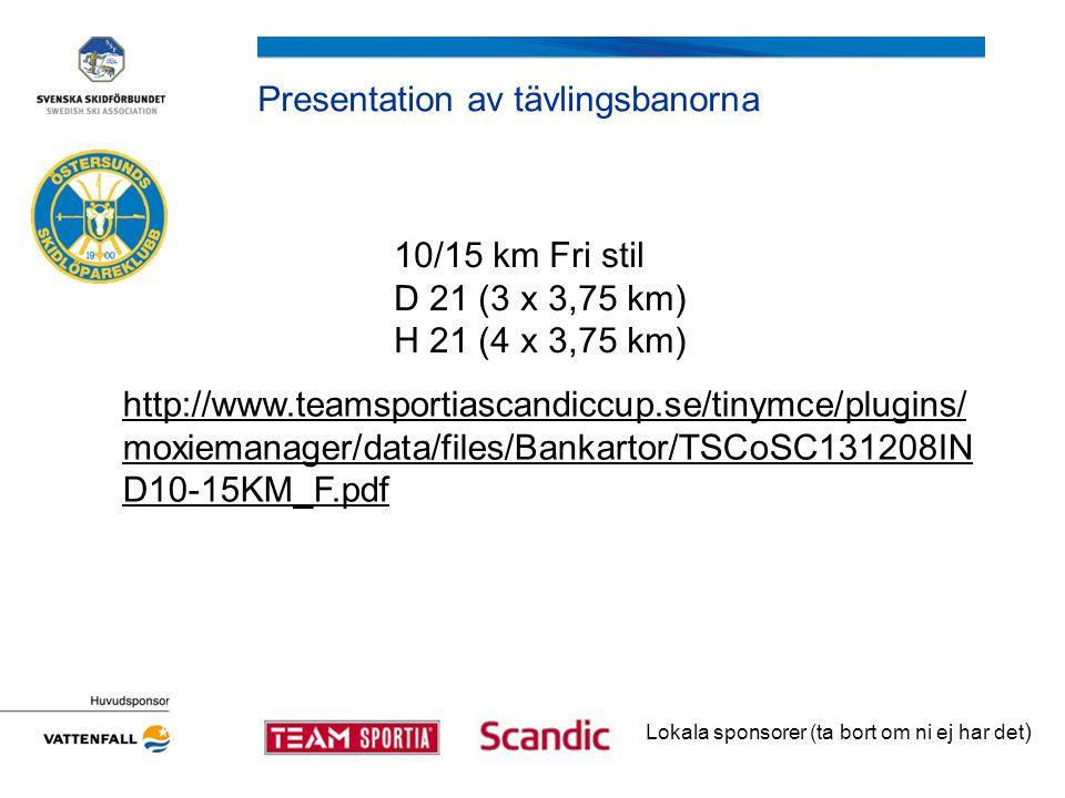 Presentation av tävlingsbanorna Lokala sponsorer (ta bort om ni ej har det ) 10/15 km Fri stil D 21 (3 x 3,75 km) H 21 (4 x 3,75 km) http://www.teamsportiascandiccup.se/tinymce/plugins/ moxiemanager/data/files/Bankartor/TSCoSC131208IN D10-15KM_F.pdf