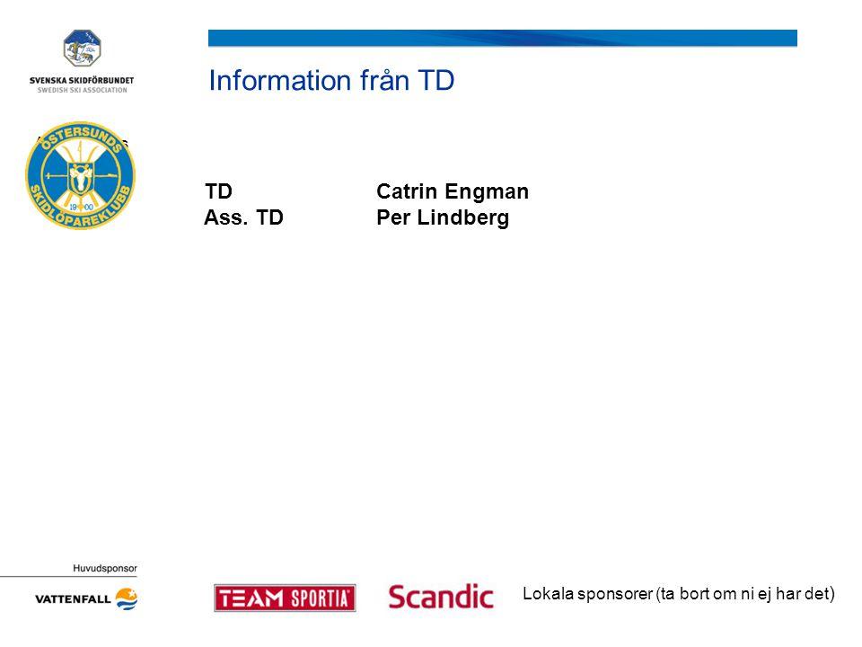 Information från TD TDCatrin Engman Ass. TDPer Lindberg Arrangörens logotyp Lokala sponsorer (ta bort om ni ej har det )