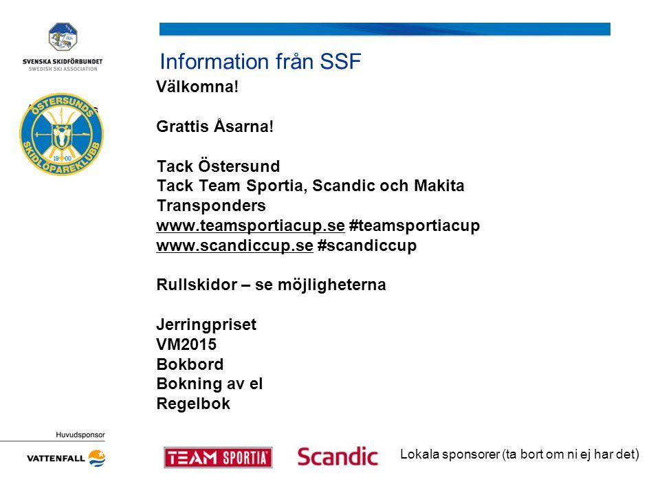 Information från SSF Välkomna! Grattis Åsarna! Tack Östersund Tack Team Sportia, Scandic och Makita Transponders www.teamsportiacup.sewww.teamsportiac