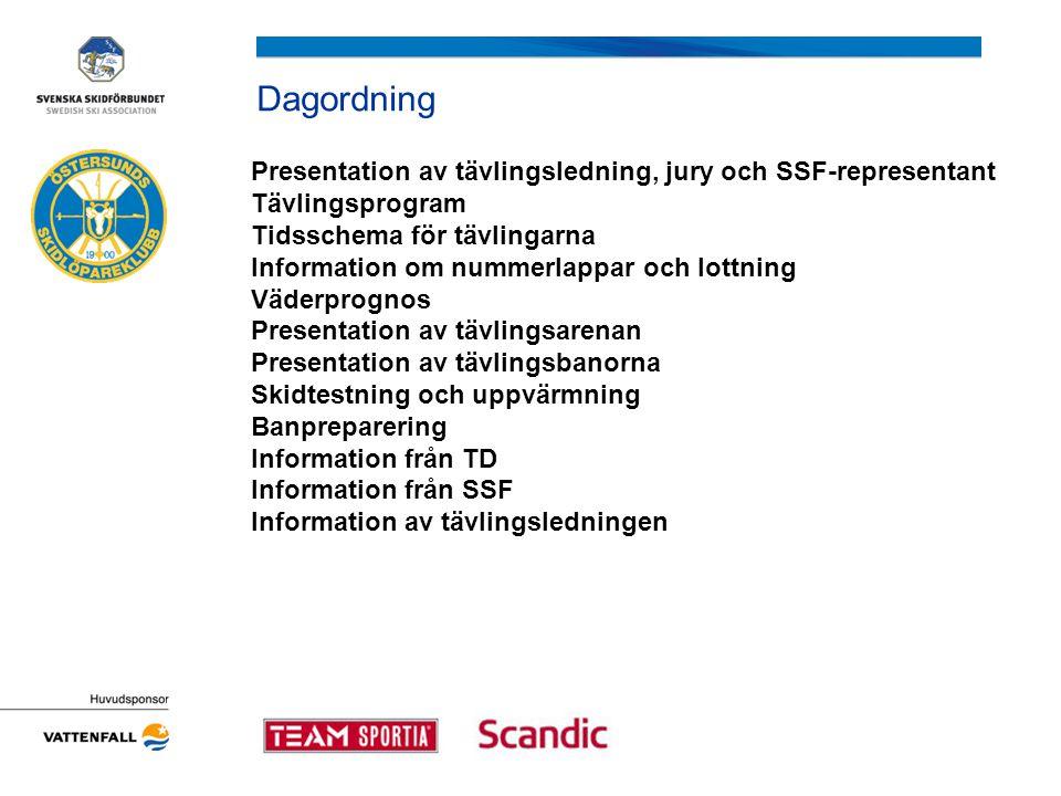 Dagordning Presentation av tävlingsledning, jury och SSF-representant Tävlingsprogram Tidsschema för tävlingarna Information om nummerlappar och lottning Väderprognos Presentation av tävlingsarenan Presentation av tävlingsbanorna Skidtestning och uppvärmning Banpreparering Information från TD Information från SSF Information av tävlingsledningen