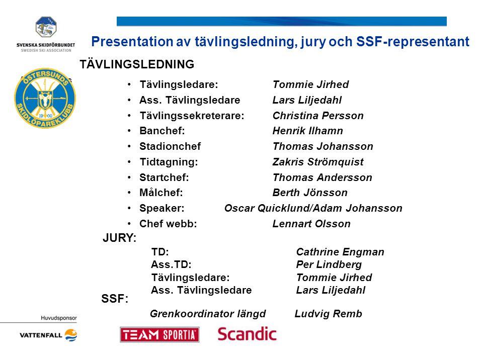 Presentation av tävlingsledning, jury och SSF-representant Arrangörens logotyp TÄVLINGSLEDNING •Tävlingsledare:Tommie Jirhed •Ass. TävlingsledareLars