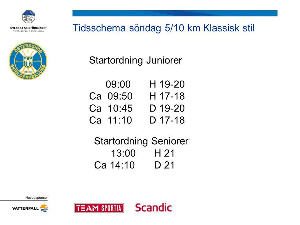 Tidsschema söndag 5/10 km Klassisk stil Startordning Juniorer 09:00 H 19-20 Ca 09:50H 17-18 Ca 10:45D 19-20 Ca 11:10D 17-18 Startordning Seniorer 13:0