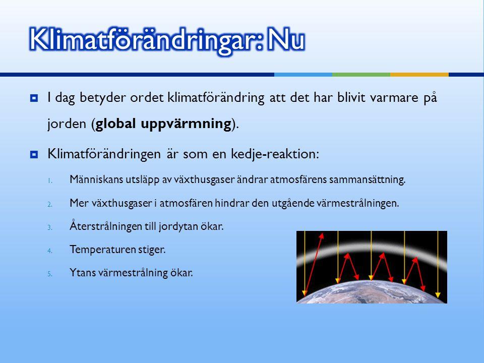  I dag betyder ordet klimatförändring att det har blivit varmare på jorden (global uppvärmning).  Klimatförändringen är som en kedje-reaktion: 1. Mä