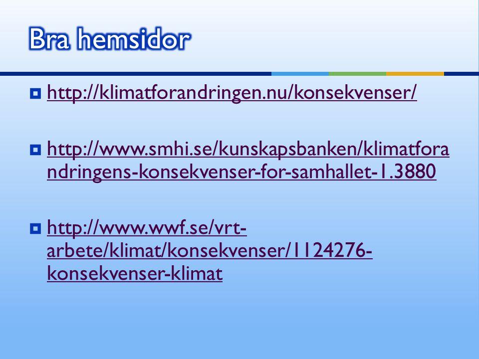  http://klimatforandringen.nu/konsekvenser/ http://klimatforandringen.nu/konsekvenser/  http://www.smhi.se/kunskapsbanken/klimatfora ndringens-konse