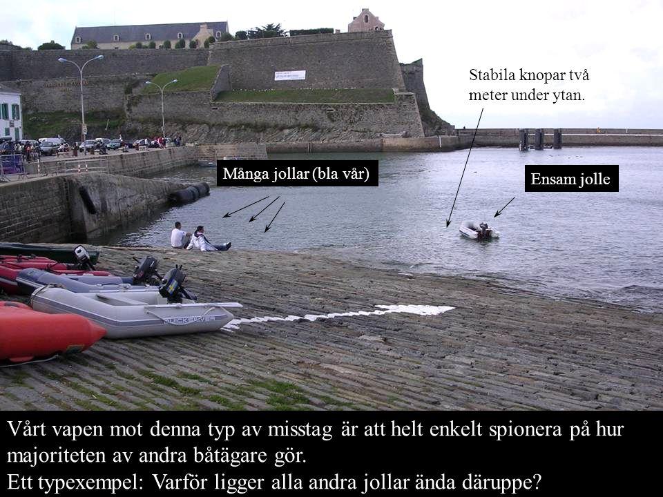 Vårt vapen mot denna typ av misstag är att helt enkelt spionera på hur majoriteten av andra båtägare gör. Ett typexempel: Varför ligger alla andra jol