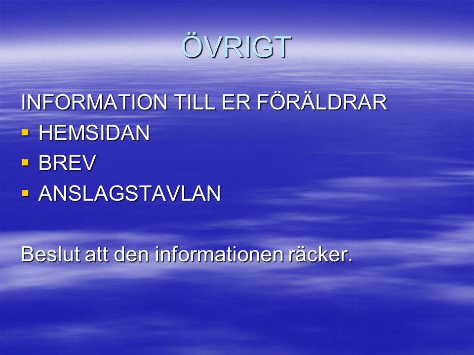 ÖVRIGT INFORMATION TILL ER FÖRÄLDRAR  HEMSIDAN  BREV  ANSLAGSTAVLAN Beslut att den informationen räcker.