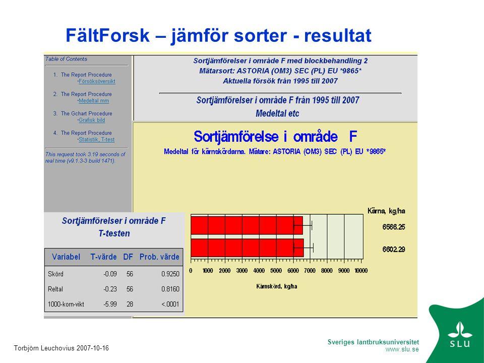 Sveriges lantbruksuniversitet www.slu.se FältForsk – jämför sorter - resultat Torbjörn Leuchovius 2007-10-16