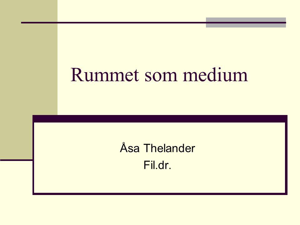 Rummet som medium Åsa Thelander Fil.dr.
