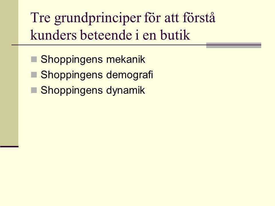 Tre grundprinciper för att förstå kunders beteende i en butik  Shoppingens mekanik  Shoppingens demografi  Shoppingens dynamik