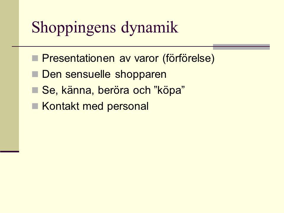 """Shoppingens dynamik  Presentationen av varor (förförelse)  Den sensuelle shopparen  Se, känna, beröra och """"köpa""""  Kontakt med personal"""
