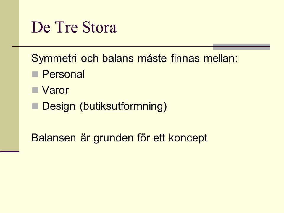 De Tre Stora Symmetri och balans måste finnas mellan:  Personal  Varor  Design (butiksutformning) Balansen är grunden för ett koncept