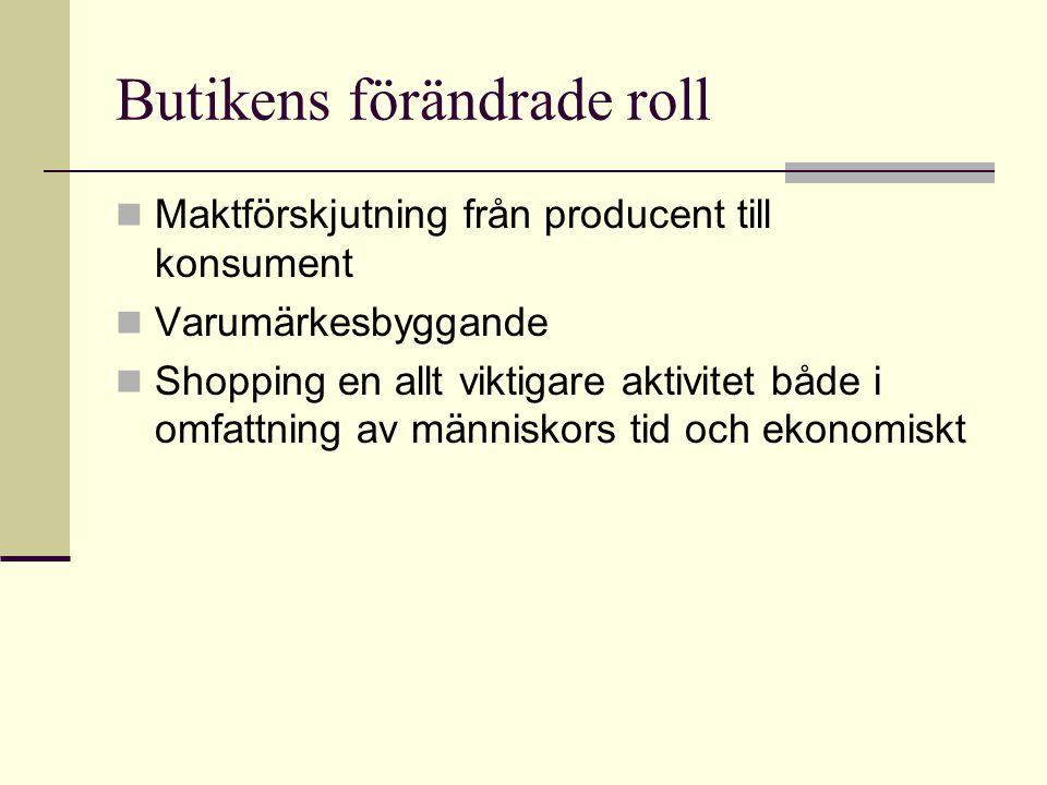 Butikens förändrade roll  Maktförskjutning från producent till konsument  Varumärkesbyggande  Shopping en allt viktigare aktivitet både i omfattnin