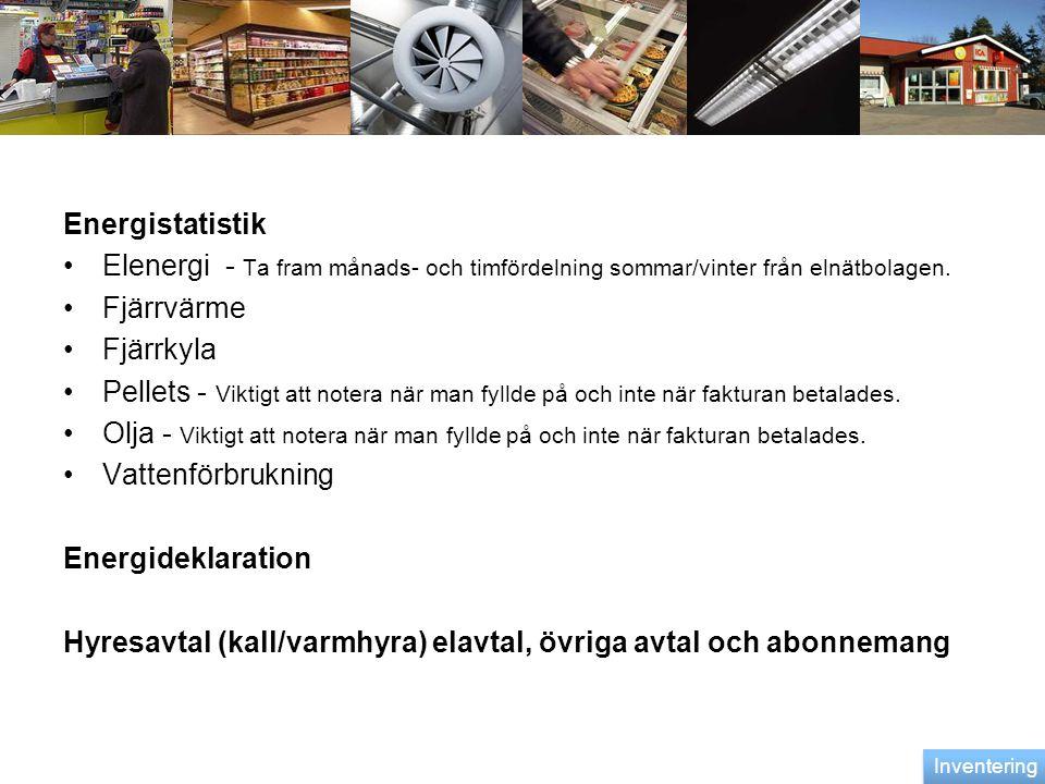Energistatistik •Elenergi - Ta fram månads- och timfördelning sommar/vinter från elnätbolagen. •Fjärrvärme •Fjärrkyla •Pellets - Viktigt att notera nä