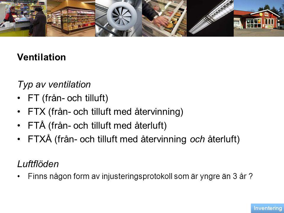 Ventilation Typ av ventilation •FT (från- och tilluft) •FTX (från- och tilluft med återvinning) •FTÅ (från- och tilluft med återluft) •FTXÅ (från- och