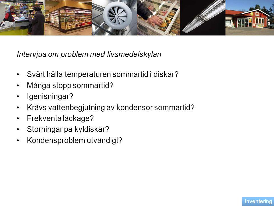 Intervjua om problem med livsmedelskylan •Svårt hålla temperaturen sommartid i diskar? •Många stopp sommartid? •Igenisningar? •Krävs vattenbegjutning