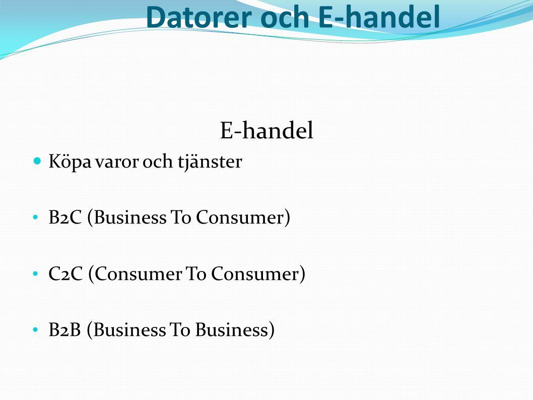 Datorer och E-handel E-handel  Köpa varor och tjänster • B2C (Business To Consumer) • C2C (Consumer To Consumer) • B2B (Business To Business)