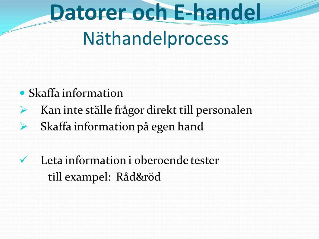 Datorer och E-handel Näthandelprocess  Skaffa information  Kan inte ställe frågor direkt till personalen  Skaffa information på egen hand  Leta in