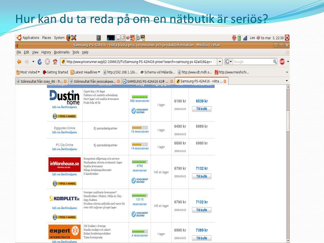 Datorer och E-handel • Handla på auktion: Köpare lägger sina bud via auktionsajten En auktion måste bevakas Betalningsmetod är lika som en nätbutik Brukar ta lite mer tid i anspråk