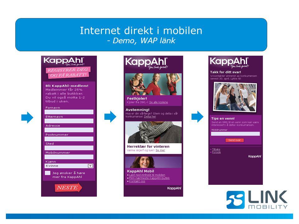 Internet direkt i mobilen - Demo, WAP länk  