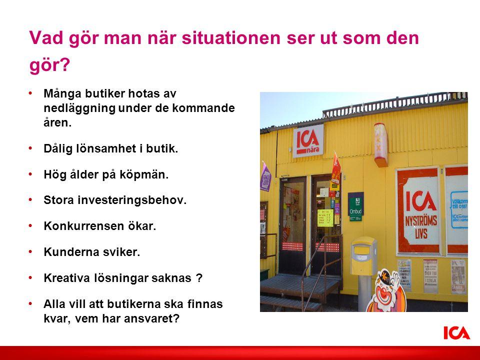 Vad gör man när situationen ser ut som den gör? • Många butiker hotas av nedläggning under de kommande åren. • Dålig lönsamhet i butik. • Hög ålder på