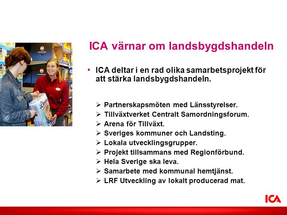 Lägg in valfri bild • ICA deltar i en rad olika samarbetsprojekt för att stärka landsbygdshandeln.  Partnerskapsmöten med Länsstyrelser.  Tillväxtve