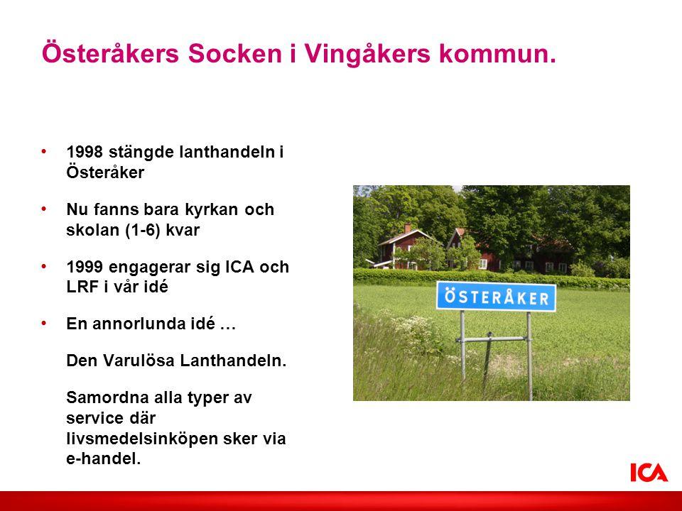 Österåkers Socken i Vingåkers kommun. • 1998 stängde lanthandeln i Österåker • Nu fanns bara kyrkan och skolan (1-6) kvar • 1999 engagerar sig ICA och