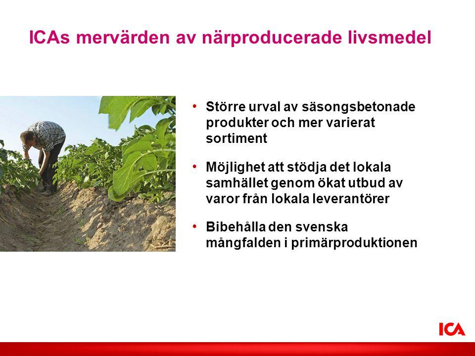 ICAs mervärden av närproducerade livsmedel • Större urval av säsongsbetonade produkter och mer varierat sortiment • Möjlighet att stödja det lokala sa