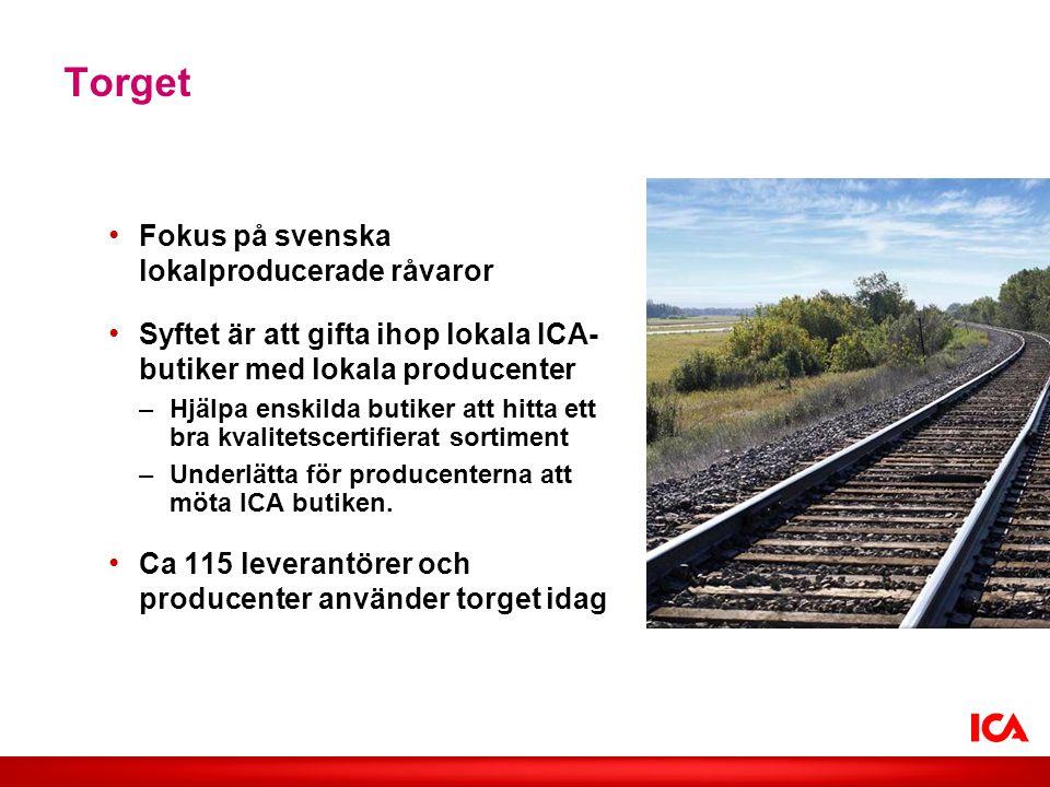 Torget • Fokus på svenska lokalproducerade råvaror • Syftet är att gifta ihop lokala ICA- butiker med lokala producenter –Hjälpa enskilda butiker att
