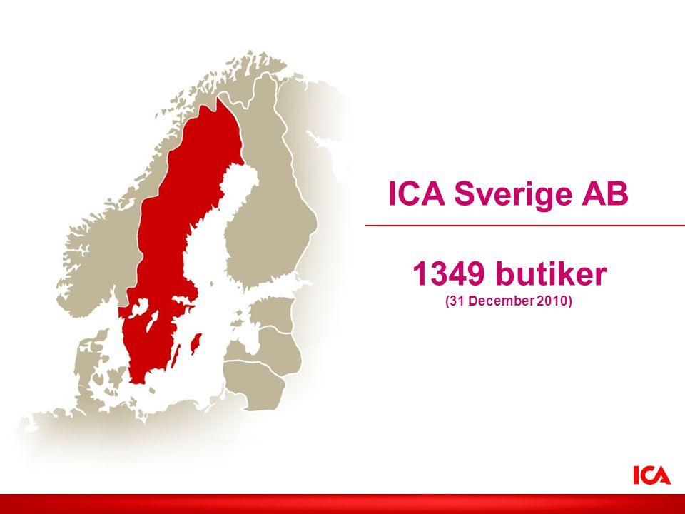 ICA Sverige AB 1349 butiker (31 December 2010)
