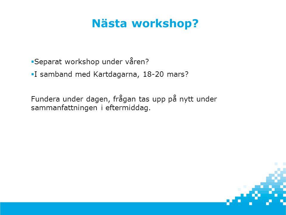 Nästa workshop?  Separat workshop under våren?  I samband med Kartdagarna, 18-20 mars? Fundera under dagen, frågan tas upp på nytt under sammanfattn