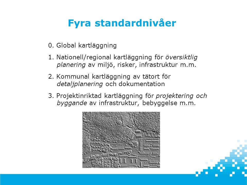 Fyra standardnivåer 0. Global kartläggning 1. Nationell/regional kartläggning för översiktlig planering av miljö, risker, infrastruktur m.m. 2. Kommun