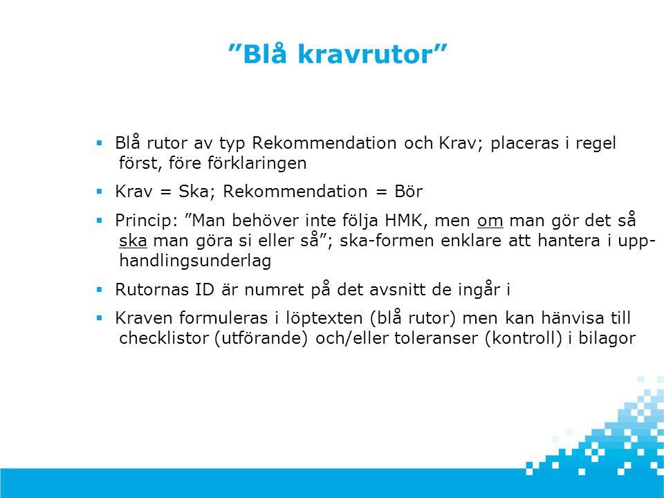 """""""Blå kravrutor""""  Blå rutor av typ Rekommendation och Krav; placeras i regel först, före förklaringen  Krav = Ska; Rekommendation = Bör  Princip: """"M"""