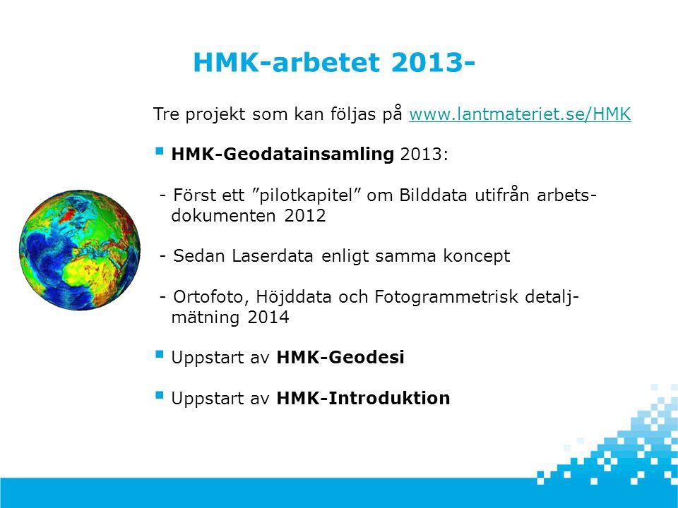 """Tre projekt som kan följas på www.lantmateriet.se/HMKwww.lantmateriet.se/HMK  HMK-Geodatainsamling 2013: - Först ett """"pilotkapitel"""" om Bilddata utifr"""