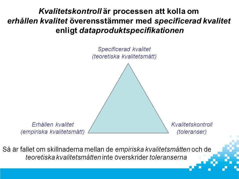 Specificerad kvalitet (teoretiska kvalitetsmått) Erhållen kvalitet (empiriska kvalitetsmått) Kvalitetskontroll (toleranser) Kvalitetskontroll är proce