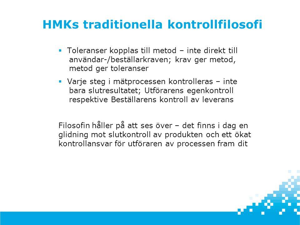 HMKs traditionella kontrollfilosofi  Toleranser kopplas till metod – inte direkt till användar-/beställarkraven; krav ger metod, metod ger toleranser