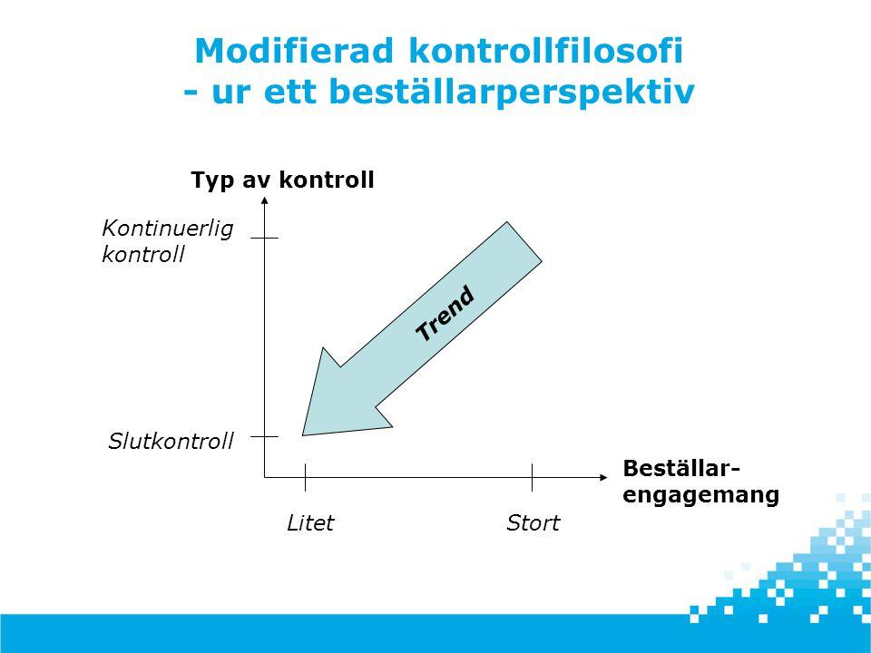 Modifierad kontrollfilosofi - ur ett beställarperspektiv Typ av kontroll Beställar- engagemang Slutkontroll Kontinuerlig kontroll StortLitet Trend