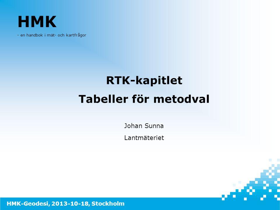 HMK - en handbok i mät- och kartfrågor RTK-kapitlet Tabeller för metodval Johan Sunna Lantmäteriet HMK-Geodesi, 2013-10-18, Stockholm