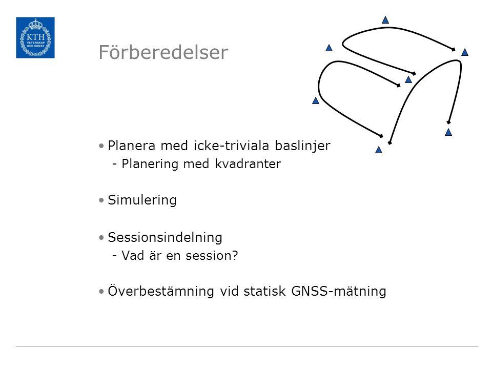 Förberedelser •Planera med icke-triviala baslinjer -Planering med kvadranter •Simulering •Sessionsindelning -Vad är en session? •Överbestämning vid st