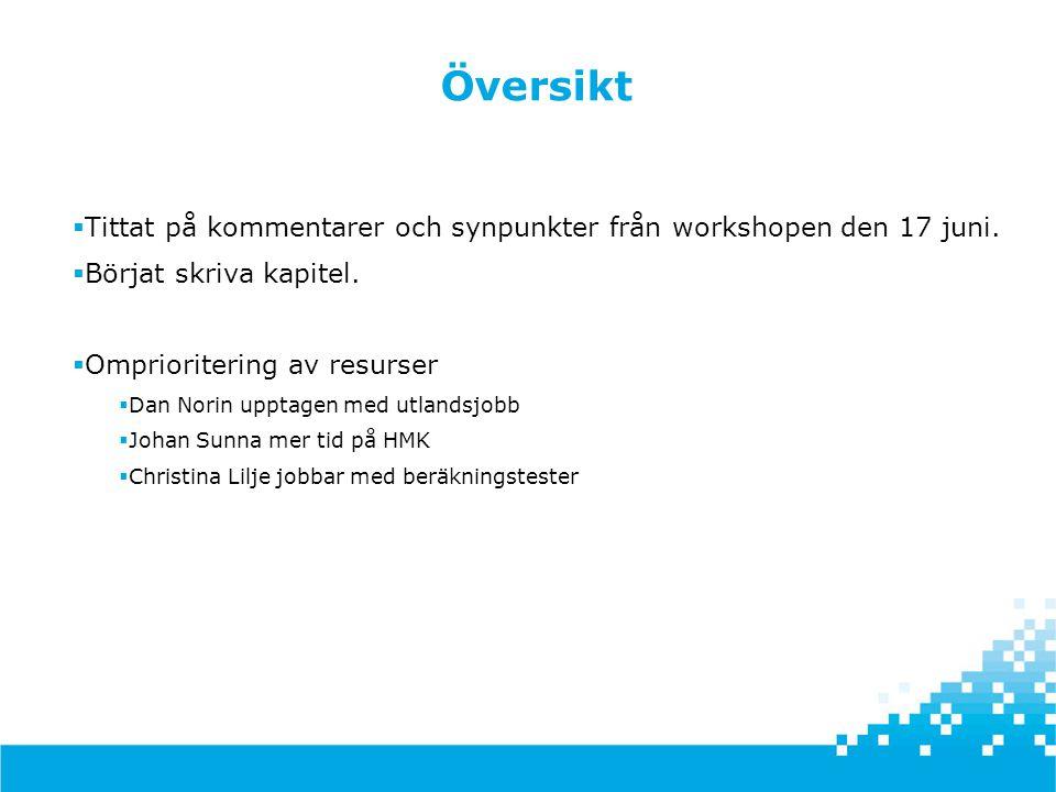 Resultat från workshop 2013-06-17  Toleransdokumentet går nu under arbetsnamnet Tabeller för metodval  Samlade checklistor  Avsnitt om planering finns nu med i dispositionen