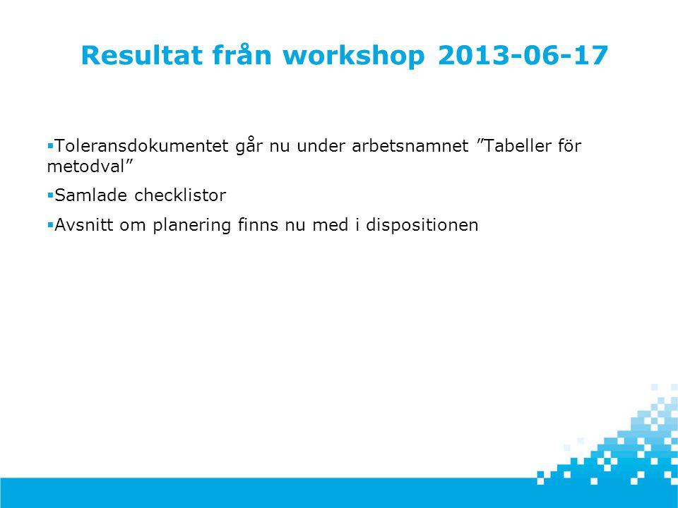 """Resultat från workshop 2013-06-17  Toleransdokumentet går nu under arbetsnamnet """"Tabeller för metodval""""  Samlade checklistor  Avsnitt om planering"""