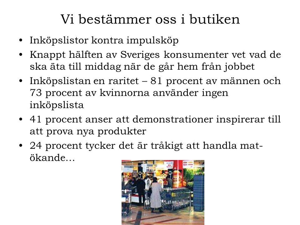 Vi bestämmer oss i butiken •Inköpslistor kontra impulsköp •Knappt hälften av Sveriges konsumenter vet vad de ska äta till middag när de går hem från j