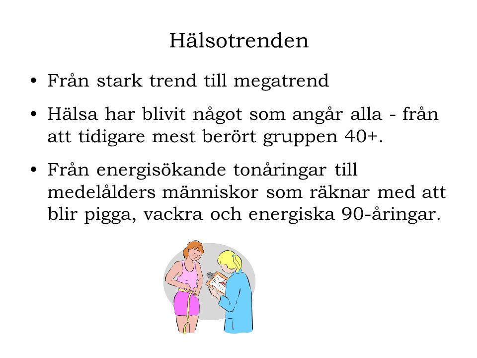 •Från stark trend till megatrend •Hälsa har blivit något som angår alla - från att tidigare mest berört gruppen 40+. •Från energisökande tonåringar ti