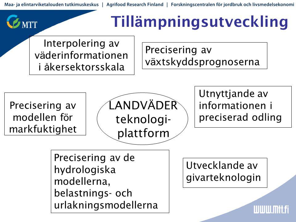 Till ä mpningsutveckling LANDV Ä DER teknologi- plattform Interpolering av v ä derinformationen i å kersektorsskala Precisering av de hydrologiska mod