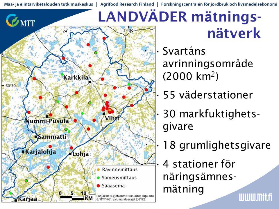 LANDV Ä DER m ä tnings- n ä tverk • • •Svartåns avrinningsområde (2000 km 2 ) •55 väderstationer •30 markfuktighets- givare •18 grumlighetsgivare •4 stationer för näringsämnes- mätning