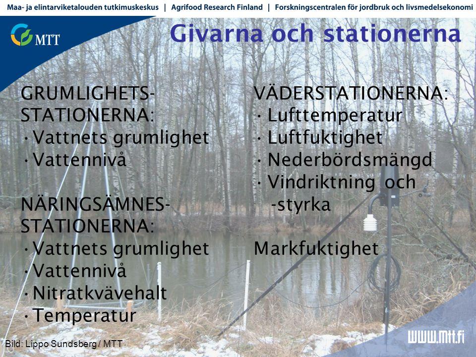 Givarna och stationerna VÄDERSTATIONERNA: •Lufttemperatur •Luftfuktighet •Nederbördsmängd •Vindriktning och -styrka Markfuktighet GRUMLIGHETS- STATIONERNA: •Vattnets grumlighet •Vattennivå NÄRINGSÄMNES- STATIONERNA: •Vattnets grumlighet •Vattennivå •Nitratkvävehalt •Temperatur Bild: Lippo Sundsberg / MTT